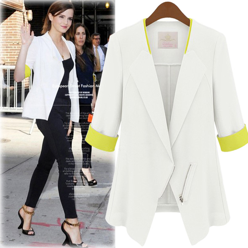 White blazer Women's Blue blazers and jackets Korean Elegant ...
