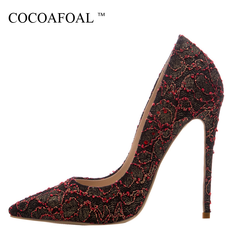 COCOAFOAL Woman Rhinestone Wedding Pumps Stiletto Plus Size 33 43 44 High Heels Shoes Gold Party Sexy Black Red Valentine Shoes cocoafoal woman green party wedding pumps stiletto plus size 33 43 44 high heels shoes blue sexy pointed toe valentine shoes
