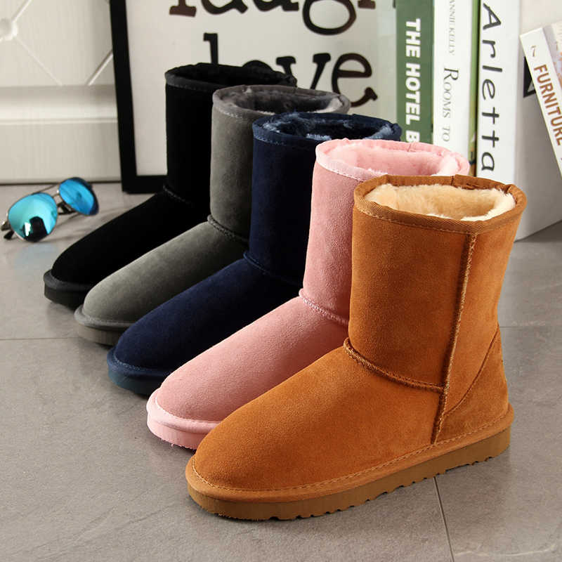 Begocool Womens Snow Boots 100% Genuine Cowhide Leather Australia Warm Winter Boots Woman Shoes Girls Botas For Cheap