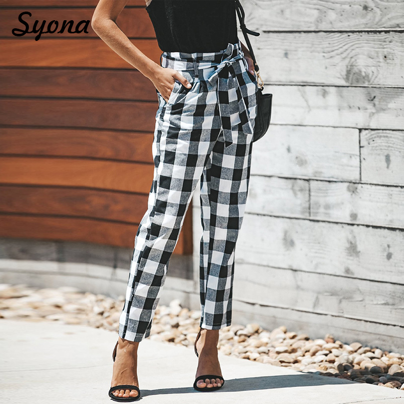 2018 Checkered Paperbag PANTS High Waist Straight Casual Paper Bag Trousers font b Tartan b font