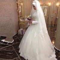 Vestidos De Noiva 2019 Ball Gown Bride Dress Princess Lace Muslim Wedding Dress Long Sleeve Vintage Wedding Dress