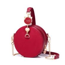 f9b85ca4fdcda 2019 NEUE frauen PU Leder Handtaschen Damen Mode Rot Farbe Circular Tote  Geldbörse Weibliche Mini Ketten Wildleder Umhängetasche.