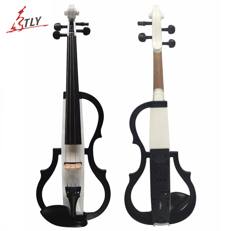 Kinglos Advanced Electric Art Full Size Violin White & Black Solid Wood Silent Violin 4/4 Ebony Fittings w/ Parts(SDDS-1802)
