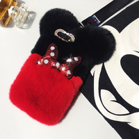 For IPhone X 8 7 6 5 Plus Luxury Top Rabbit Fur Panda Bear Ear Tail