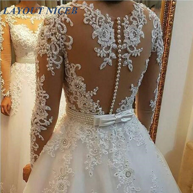 Vestido De Noiva 2017 New Elegant Lace Applique Tulle: WD402 Long Dress Elegant Vestido De Noiva Long Sleeves