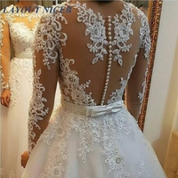 WD402 Long Dress Elegant Vestido De Noiva Long Sleeves Wedding Dress 2018 New Vintage Lace Appliques Pearls Bridal Gown