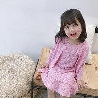 Girls knitted dress set solid pink cardigans + dress clothing set boutique kids clothing
