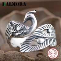 New Retro Phoenix Peony Open Ring 100 990 Pure Silver Jewelry Unique Women Finger Rings Party