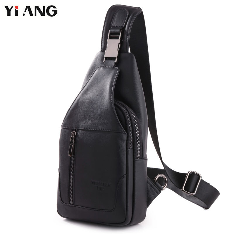 YIANG Fashion Chest Bag Genuine Leather Crossbody Bags Men Casual Messenger Bag Small Brand Designer Male Shoulder Bag 8003