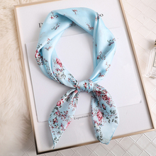 women floral printed handle bag ladies foulard head wraps muslim hijab headband bandana square neck silk scarf 70*70