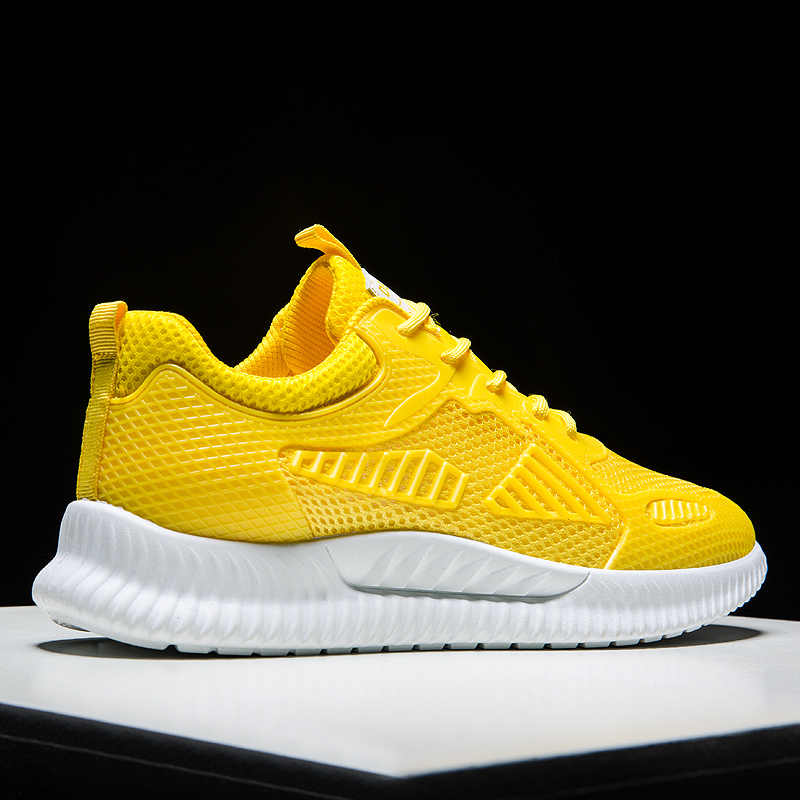 Trainer Men Sneakers Summer Mesh Lightweight Walking Sport Shoes Men Yellow Print Breathable Low Cut Youth Running Shoes White