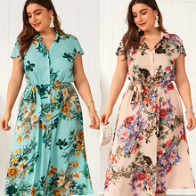 Fat MM 2019 New summer women clothing office dress fashion print plus size female  long belt cotton