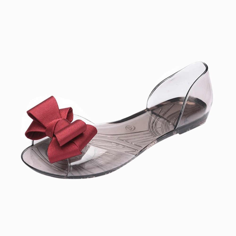 女性甘いちょう結びゼリー靴スリップオンビーチサンダルレジャーソフト底のスリッパサンダル zapatos デ mujer 2019 女性サンダル