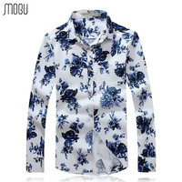 MOGU Mens Floral Long With Sleeve Print Shirt 2017 New Fashion High Quality Casual Shirt Men