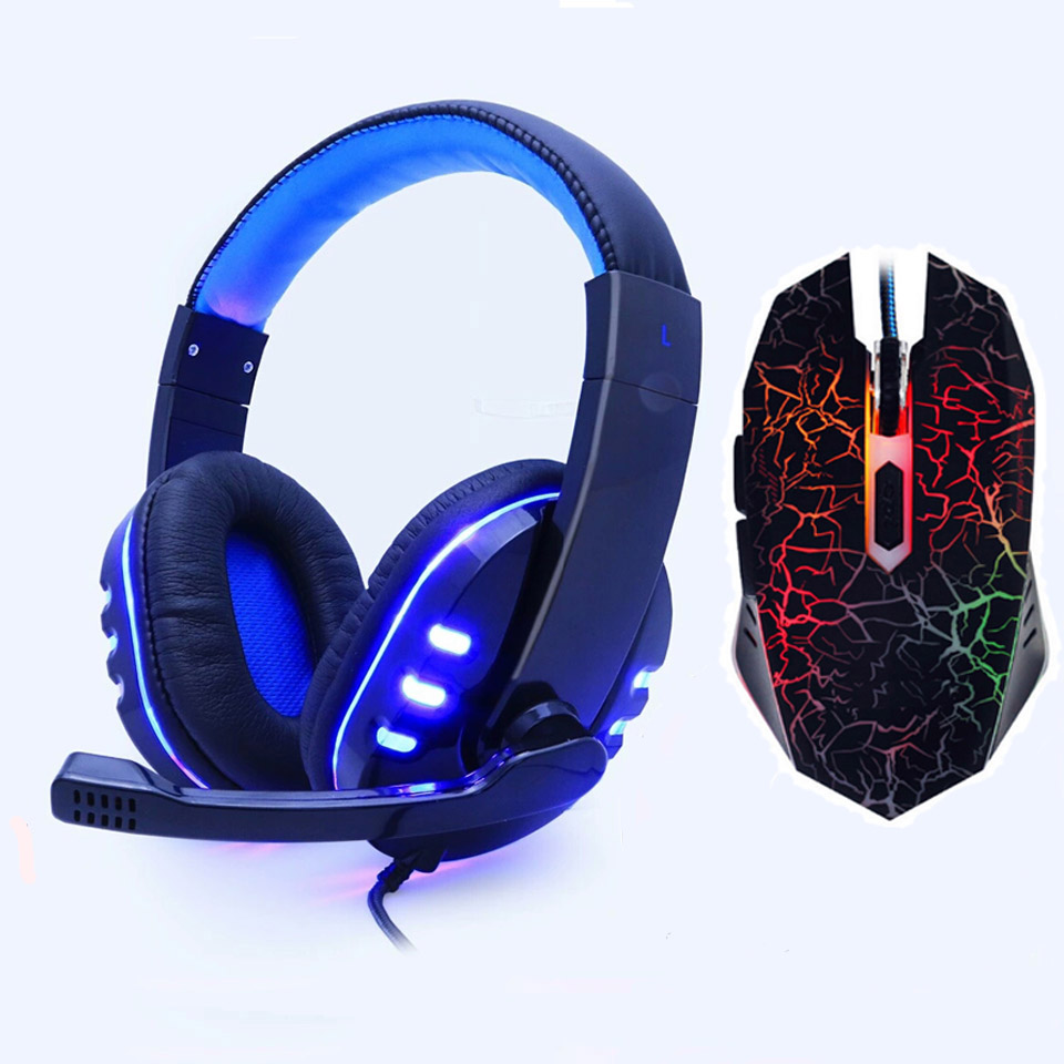 SOYTO EACH Gaming Headset game Headphones Deep Bass Stereo Earphone with LED light Microphone mic for PC Laptop PS4 Xbox One