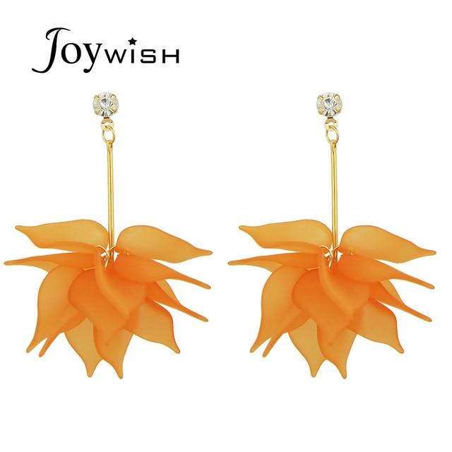 Mode Lange Kette mit Orange Weiße Blume Ohrringe für Frauen Für ...