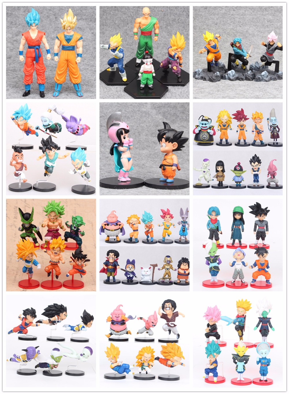 Action Figures Toys Kids Gifts Toy Pvc Collections Christmas Model For Dragon Ball Z Son Goku Vegeta Bulma Puar Piccolo 16pcs set 4 6cm little pvc action toy figures horse princess celestia christmas gift for kids toys