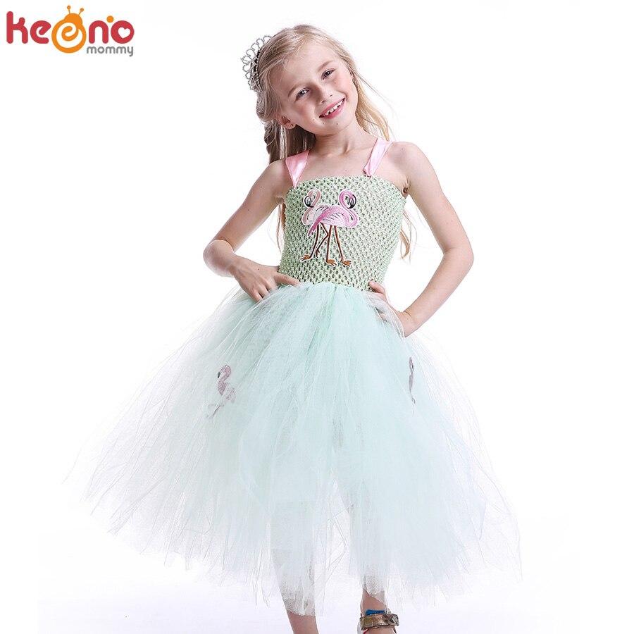 affda3dc3b7f7 Mint Green Princess Girls Flamingo Tutu Dress Handmade Kids Tulle Animal  Dresses Pageant Birthday Party Wedding