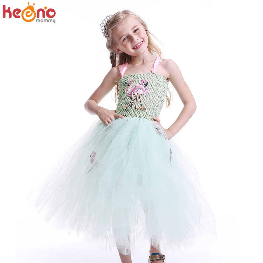 b3b0a33073a1 Cheap Menta verde princesa niñas flamenco tutú vestido hecho a mano niños  tul animales vestidos desfile