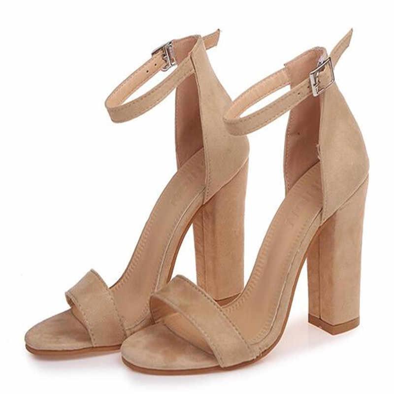 สายรัดข้อเท้าแฟชั่นผู้หญิงสบายๆรองเท้าแตะเปิดนิ้วเท้าฤดูร้อนรองเท้าส้นสูงรองเท้า BUCKLE สุภาพสตรีสำนักงานทำงานรองเท้า Sandalias