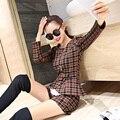 Новинка 2015 осень свободного покроя женские комплект горячая распродажа плед оборками топы с коротких штанишках дамы Большой размер XXL падение брючный костюм