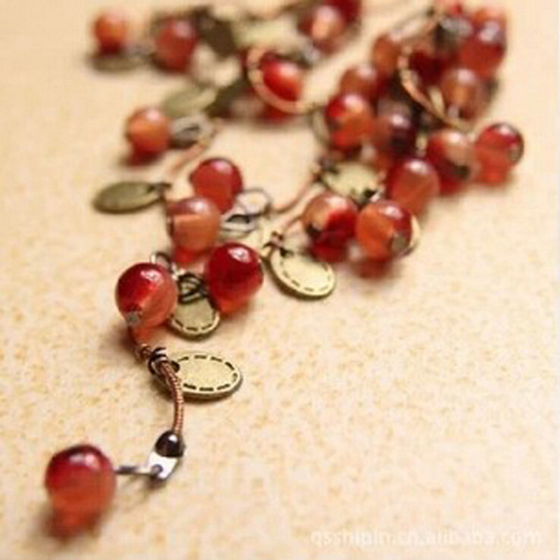 2017 Summer Style New Fashion Wild Women Necklace Jewelry Retro Sweet Cherry Beautiful Fresh Long Necklace Women Trend Jewelry