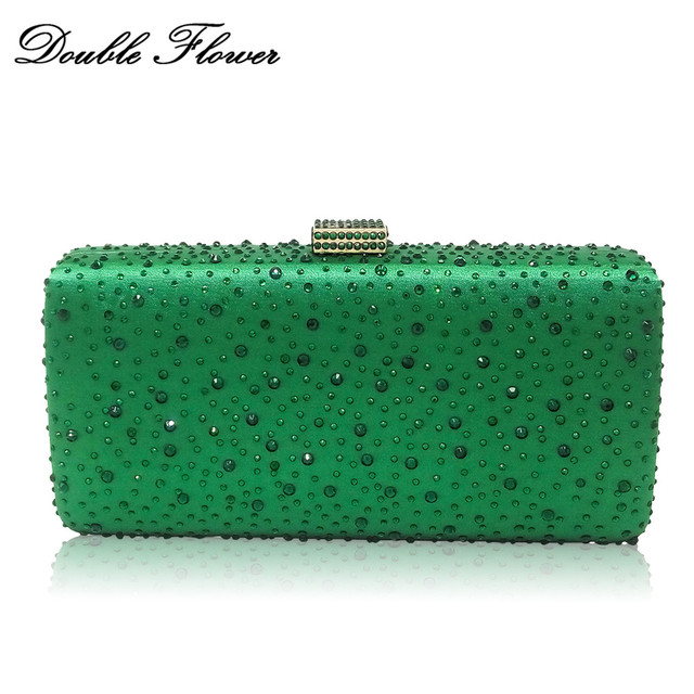 Double Flower Dazzling Green Crystal Women Evening Handbags and Purses Wedding Prom Bridal Diamond Clutch Bag Chain Shoulder Bag