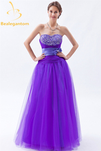 Bealegantom New Fashion Sequined A-Line Tulle Evening Dresses 2017 With Beading Bow Formal Party Prom Gown Vestido De Festa BE32