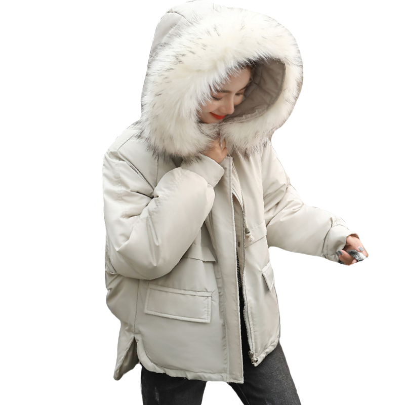 New Fashion 2019 Women Winter Jacket With Fur Collar Hooded Padded Female Coat Outwear Short Womens   Parka   Abrigo Mujer