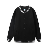 Varsity Jacket Women Baseball Uniform Black Outwear