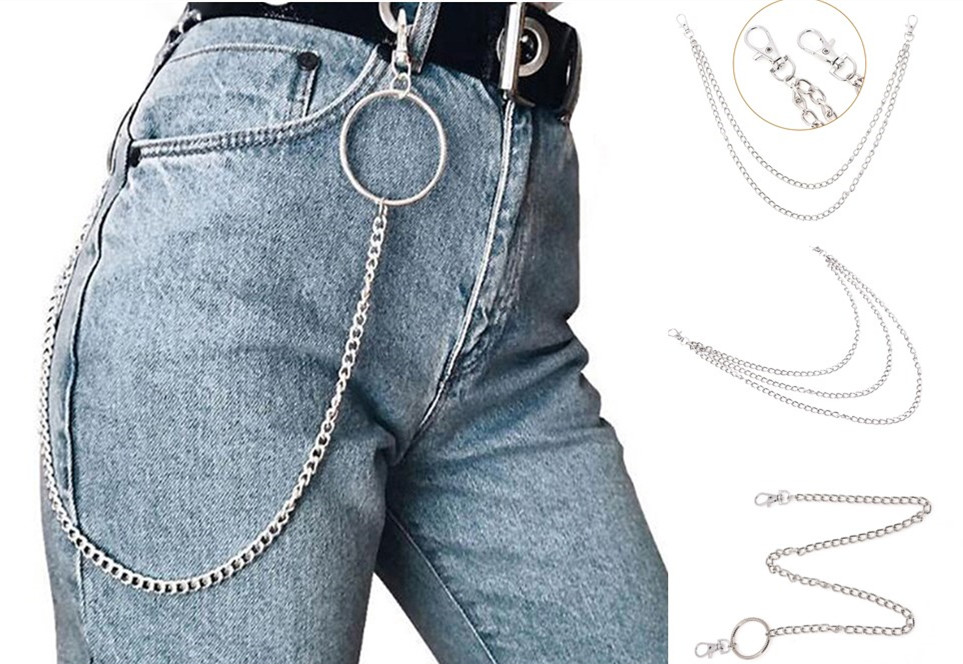 1Layer2Layer3Layer Rock Punk Hook Trousers Pant Waist Link Belt Chain Metal Wallet Silver Chain Fashion Men Jewelry