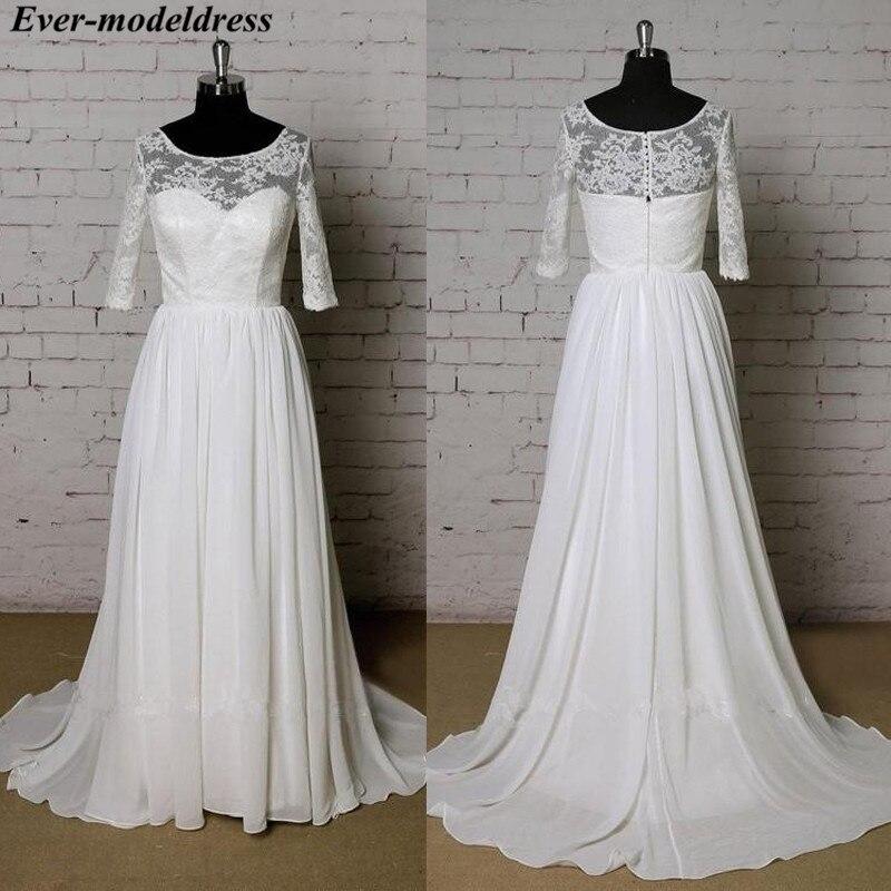 Real Beach Wedding Dresses 2019 3/4 Long Sleeves Chiffon Lace Sweep Train A-Line Boho Bridal Gowns Robe De Mariee Cheap