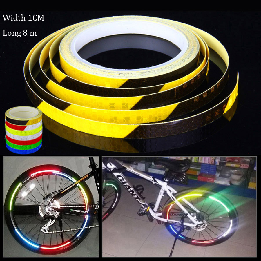Bicycle Reflective Sticker Bike Motorcycle Fluorescent Strip Safety Warning Tape
