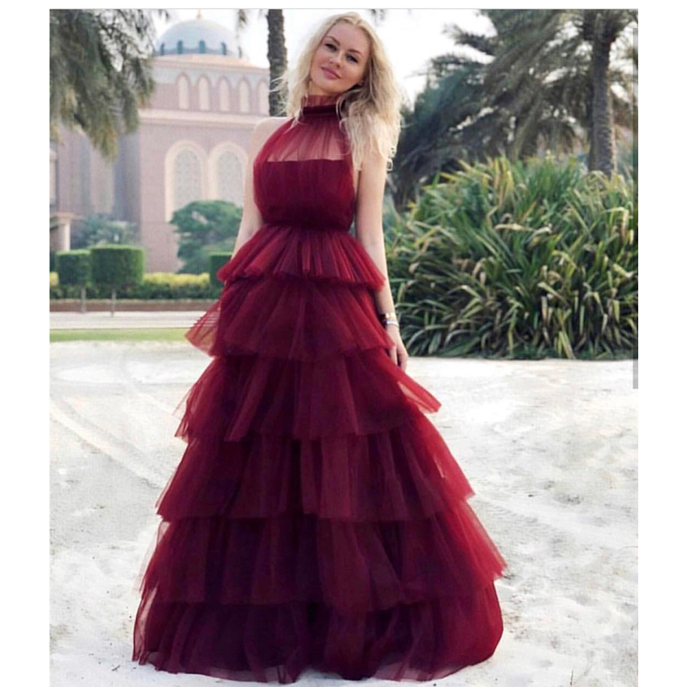 Burgundy Tiered Tulle Evening Dress 2019 High Neck Sleeveless Puffy Formal Dresses Custom Made Long Party Gowns Robe De Soiree Платье