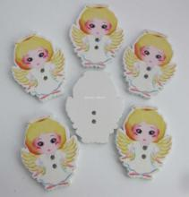 WBNAKO Angel Buttons for children girls 35MM*28MM 100Pcs/lot Printed wooden Button Decorative accessories