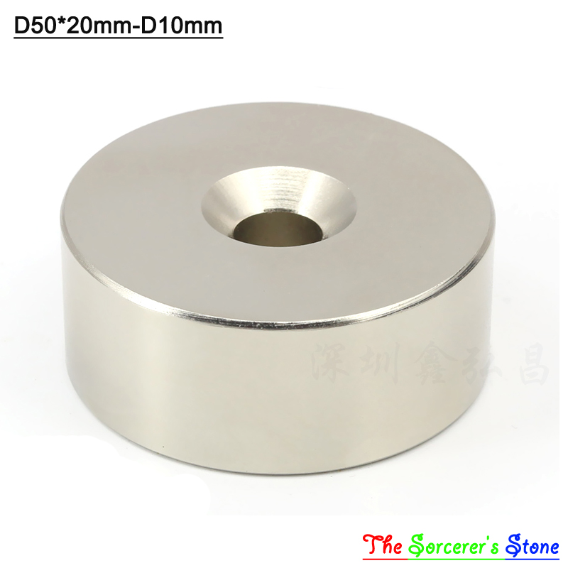 2pcs Super Strong Dia 50x20mm With hole 10mm Rare Earth Neodymium Disc Magnet  N52 Free Shipping powerfull pot magnet magnet super heavy magnetic hook holder neodymium rare earth dia 10mm hot sale 2pc