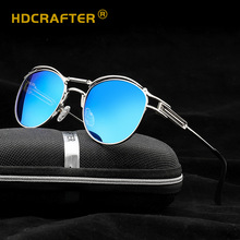 HDCRAFTER סגסוגת מסגרת Steampunk מקוטב משקפי שמש גברים נשים מראה ציפוי עדשה עגול שמש Galsses 2018 דה סול Masculino