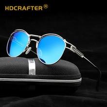 Мужские и женские солнцезащитные очки HDCRAFTER, круглые поляризационные очки в оправе из сплава в стиле стимпанк с зеркальным покрытием, 2018