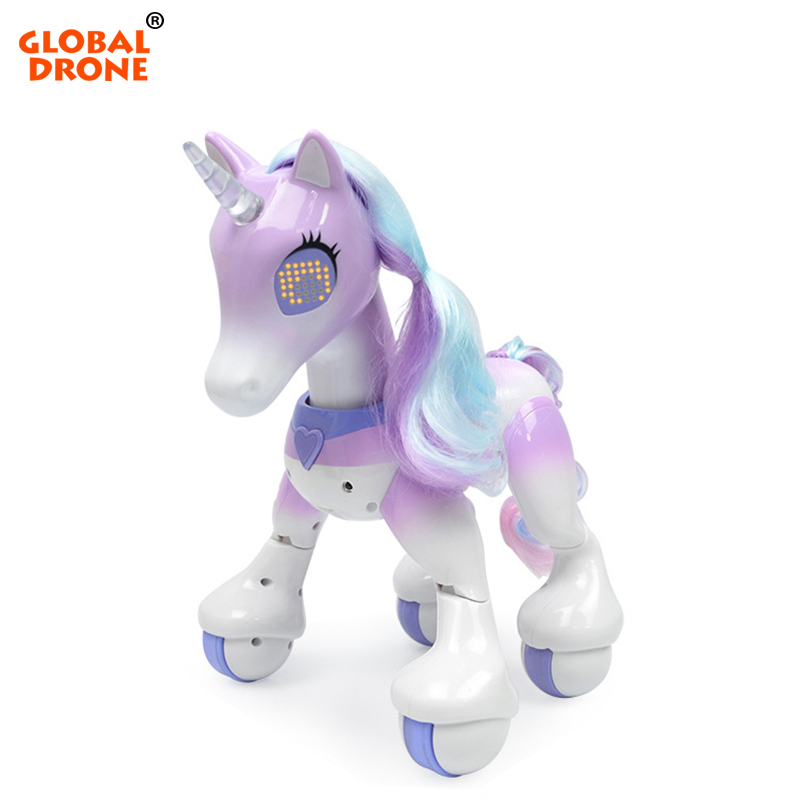 Global Drone RC Unicorn Horse Educational Toys for Children Interactive Toy Birthday Present Christmas Gifts Robot Toys for Girl robot unicorn sound control interactive unicorn electronic toys plush pet unicorn toy walk talk toys for children birthday gifts