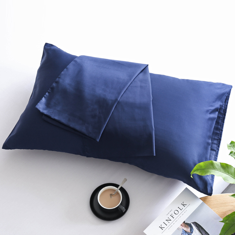 Navy Blue Solid Color 100% Cotton Bedding Pillowcase With Cotton Terse Pillow Cover For Hair With Hidden Zipper Hypoallergenic