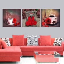 3 pieces / set of canvas prints still life series cups in black wall art drawing with modern mural pictures framed