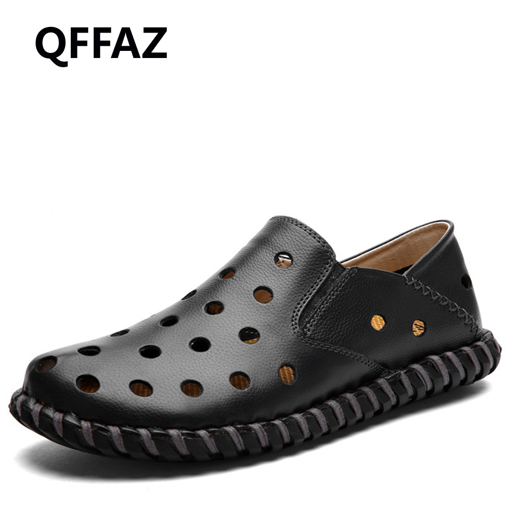 QFFAZ New Flats Breathable Hollow Out Genuine Leather High Quality Fashion Driving Men Shoes Casual sunglasses mens Loafer handmade mens dress shoes italian leather studded flats loafer shoes men casual shoes fashion spiked loafer 35 46