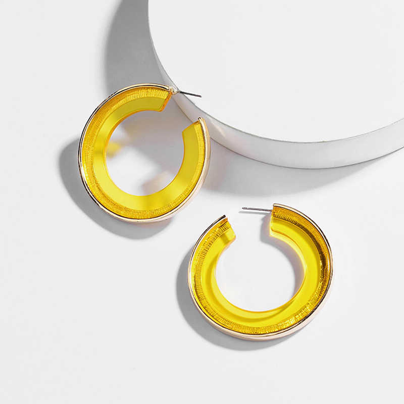 Fashion Hollow Round Acrylic Hoop Earring for Women Vintage Boho C Shape Gold Alloy Geometric Statement Jewelry Party Brincos