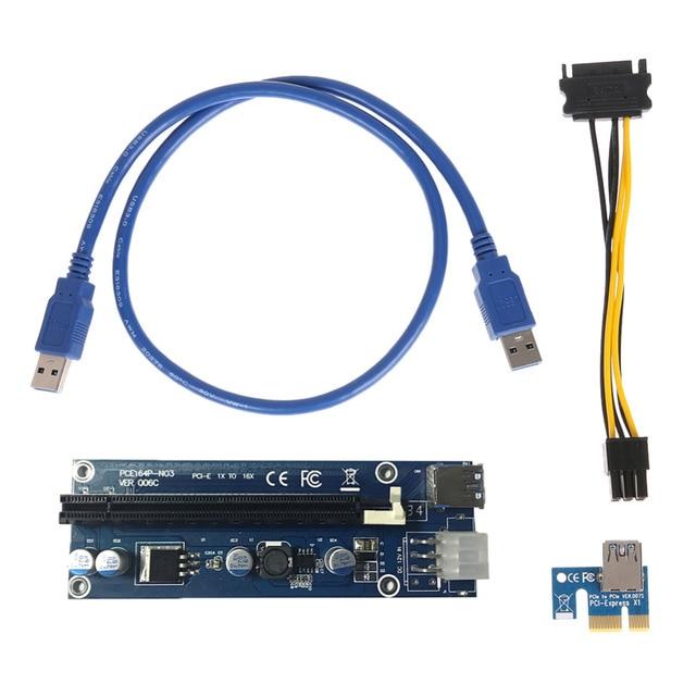 Новый PCIe pci-e PCI Express Riser Card 1x к 16x GPU USB 3.0 Extender Райзер x1 x16 адаптер SATA 6pin Мощность кабель для шахтер