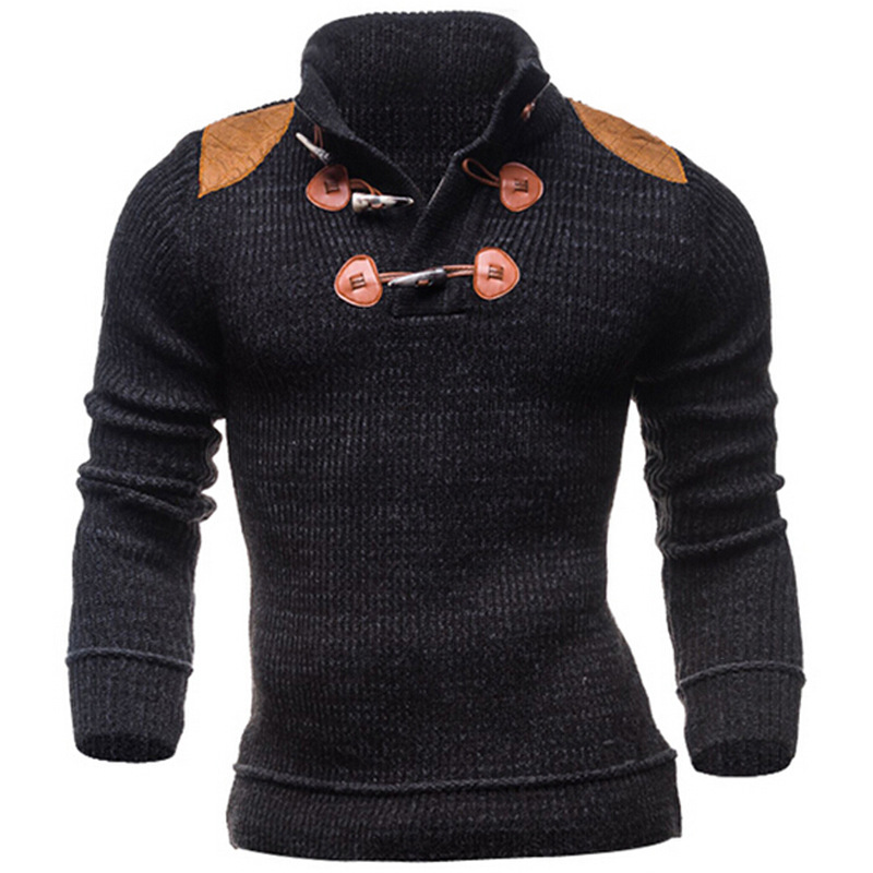 ZOGAA 2019 Men Sweater Long-Sleeved Button Knitted Shirts Large Size Double Breasted Pullovers Solid Men Winter Clothes