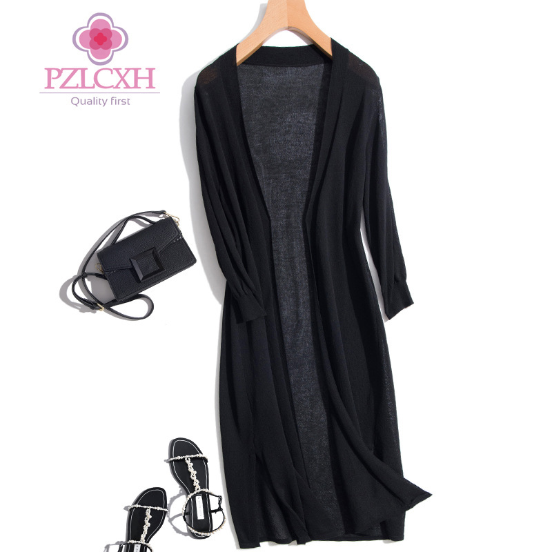 Pzlcxh Spring Summer Casual Long Cardigan Women V-Neck Long Sleeve Knitted Cool Sweater Cardigans Womens Sweater Solid ZB289