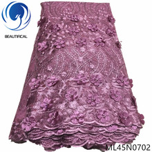 BEAUTIFICAL african net lace fabric 3d flower tulle embroidery beads 2019 ML45N07