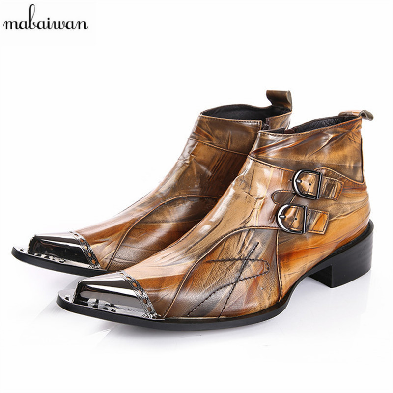 Fashion Brown Iron Pointed Toe Men Ankle Boots Spring Autumn Genuine Leather Botas Hombre Cowboy Military Boots Prom Dress Shoes