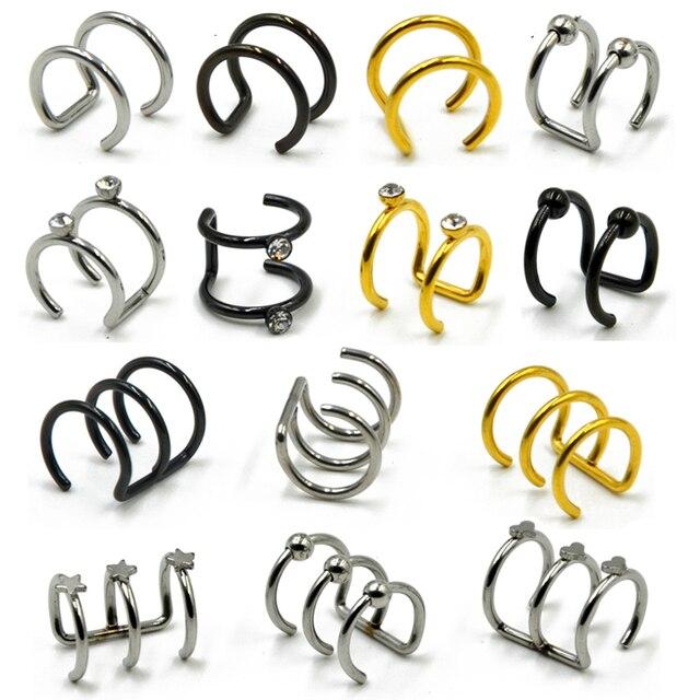 1 pc Aço Inoxidável Duplo e Triplo Hoop Ear Cuff Clip Sobre Brinco Tragus Cartilagem Não Piercing Anéis de Fechamento Falso não Penetrante