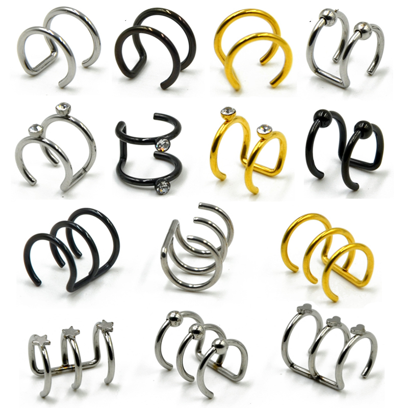 1Pc Stainless Steel Double and Triple Hoop Ear Cuff <font><b>Clip</b></font> <font><b>On</b></font> <font><b>Earring</b></font> Tragus Cartilage Non Piercing Closure Rings Fake No Piercing image